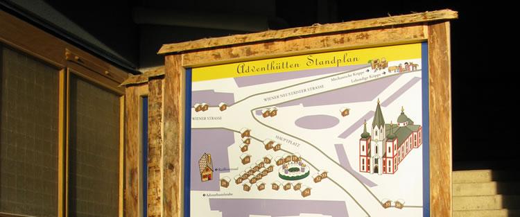 Standplan Adventhütten - Tafel inkl. Holzaufsteller