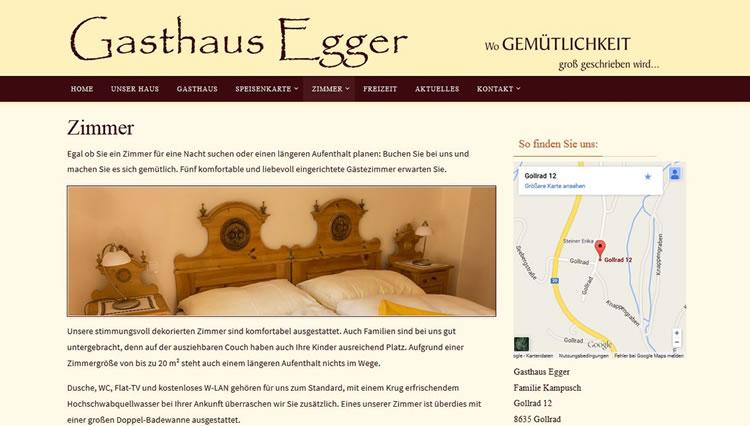 Website Gasthaus Egger