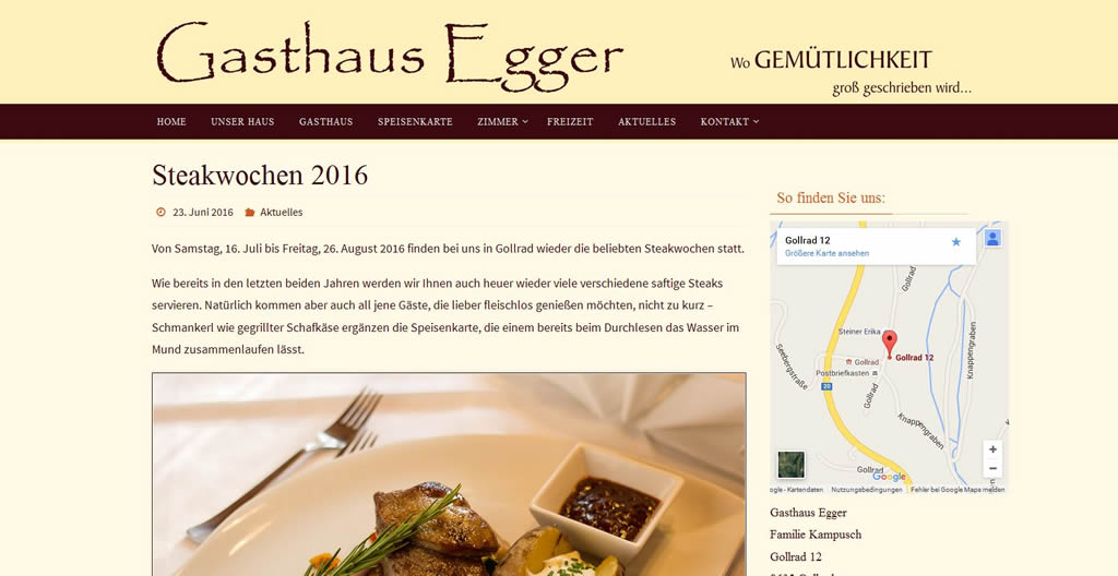 Homepage www.gasthausegger.at